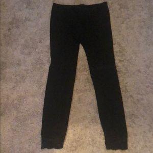 Black lace bottom leggings